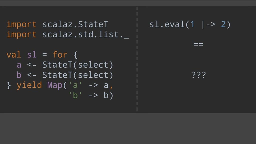 sl.eval(1  -> 2) == ??? import scalaz.StateT im...