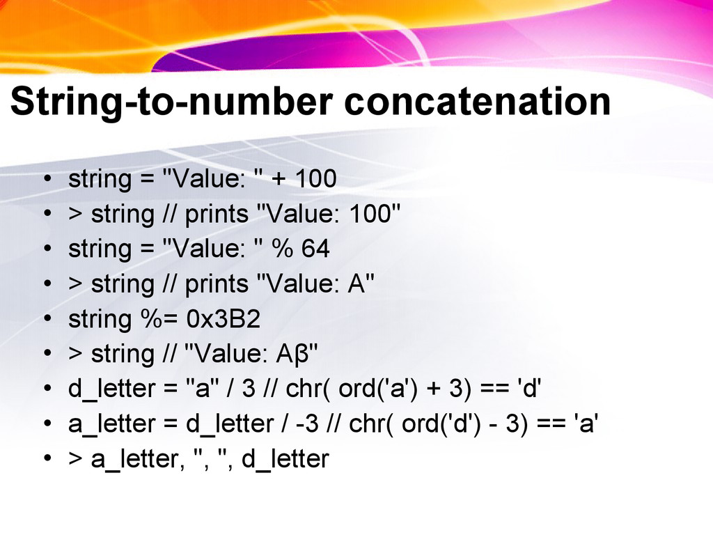 """String-to-number concatenation • string = """"Valu..."""