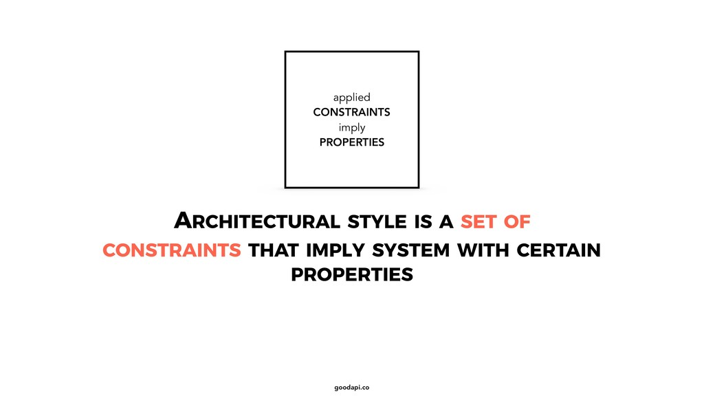 goodapi.co ARCHITECTURAL STYLE IS A SET OF CONS...