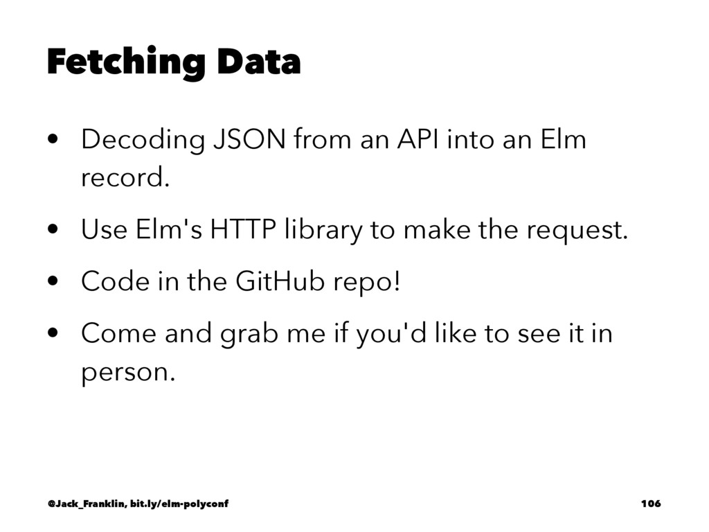Fetching Data • Decoding JSON from an API into ...