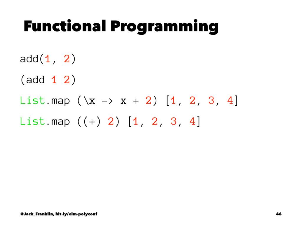 Functional Programming add(1, 2) (add 1 2) List...