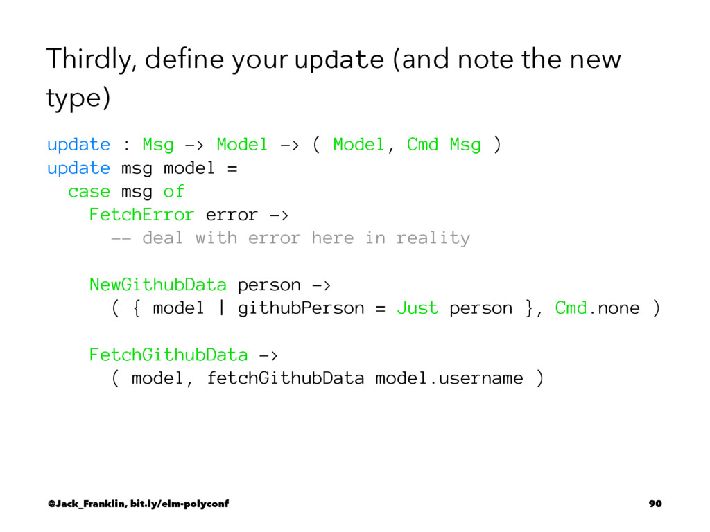 Thirdly, define your update (and note the new ty...