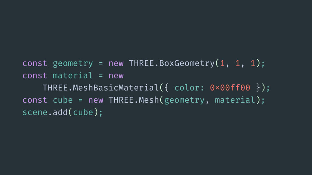 const geometry = new THREE.BoxGeometry(1, 1, 1)...