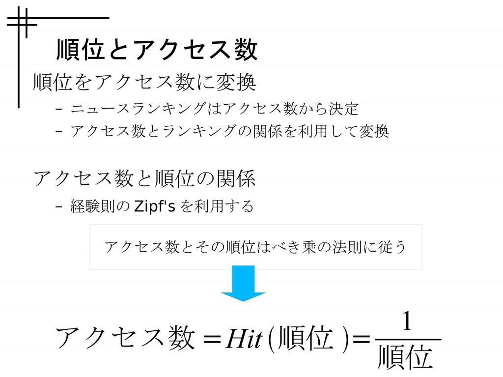 順位とアクセス数 順位をアクセス数に変換 – ニュースランキングはアクセス数から決定 – アク...