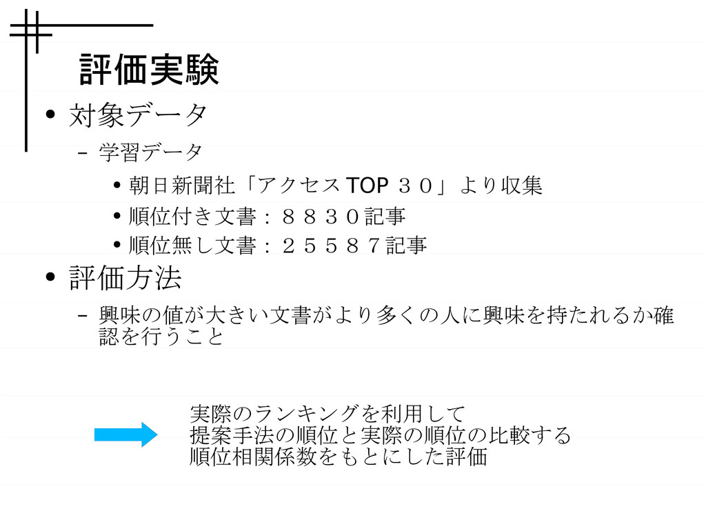 評価実験 ● 対象データ – 学習データ ● 朝日新聞社「アクセス TOP 30」より収集 ●...