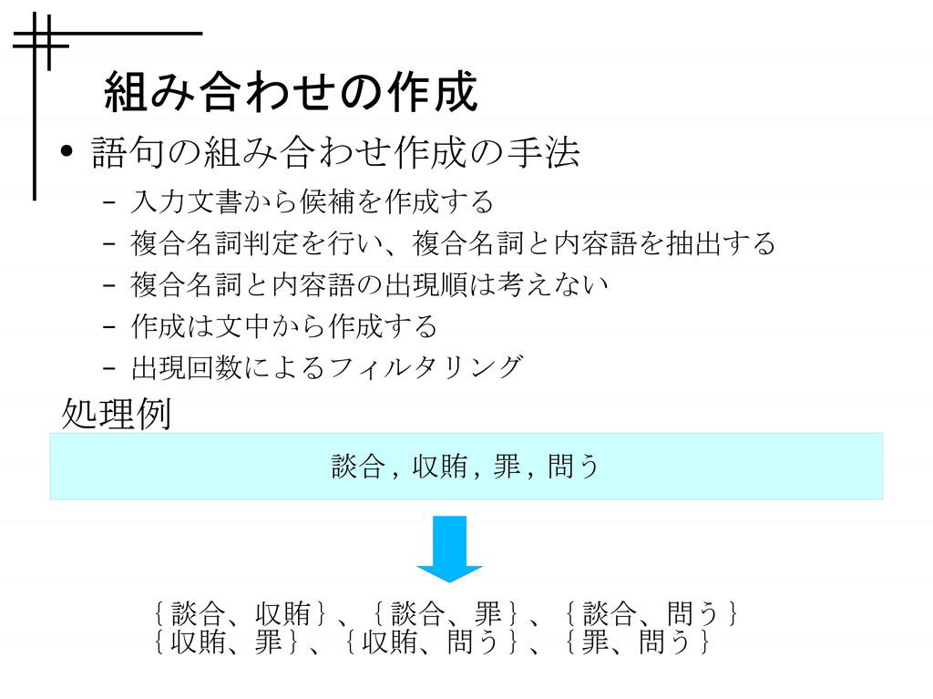 組み合わせの作成 ● 語句の組み合わせ作成の手法 – 入力文書から候補を作成する – 複合名詞...