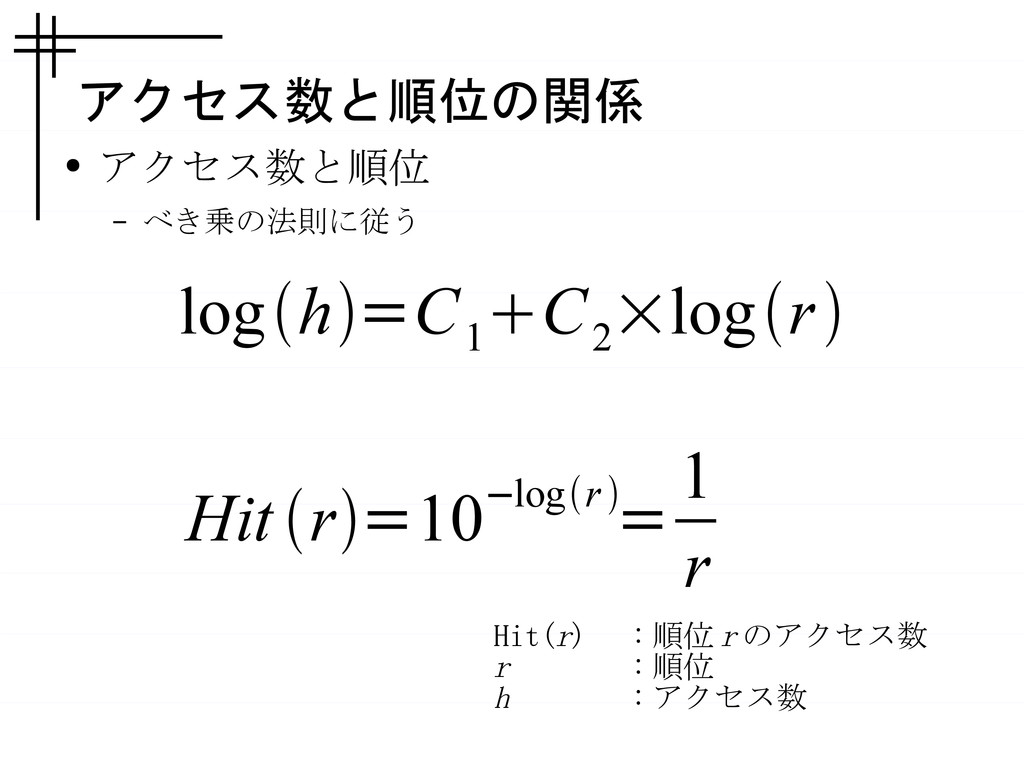 アクセス数と順位の関係 ● アクセス数と順位 – べき乗の法則に従う Hit r=10−l...