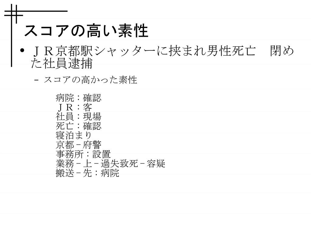 スコアの高い素性 ● JR京都駅シャッターに挟まれ男性死亡 閉め た社員逮捕 – スコアの高か...