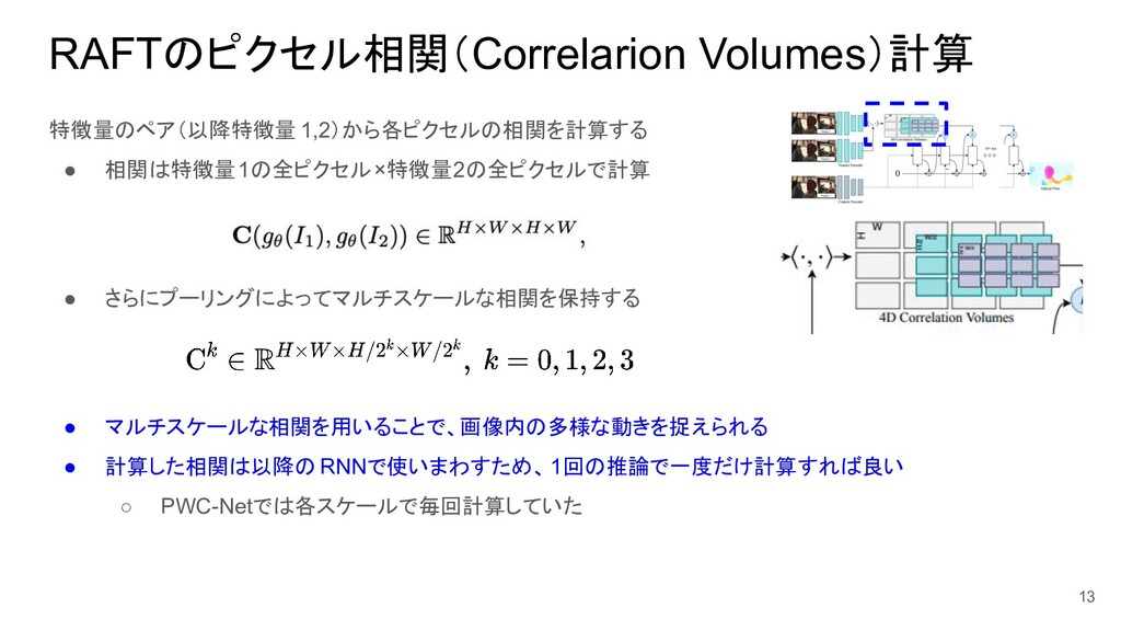 RAFTのピクセル相関(Correlarion Volumes)計算 特徴量のペア(以降特徴量...