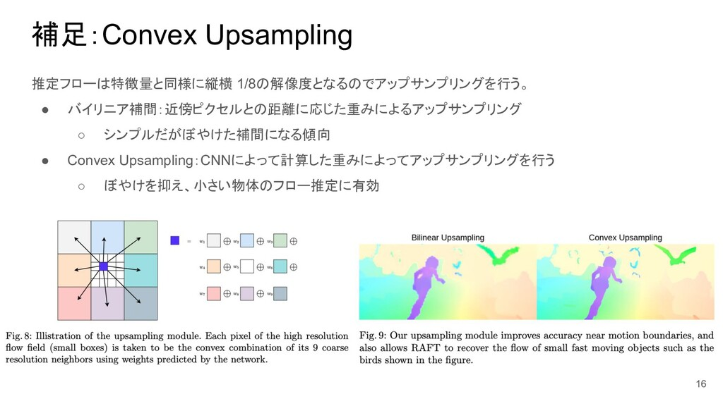 補足:Convex Upsampling 推定フローは特徴量と同様に縦横 1/8の解像度となる...