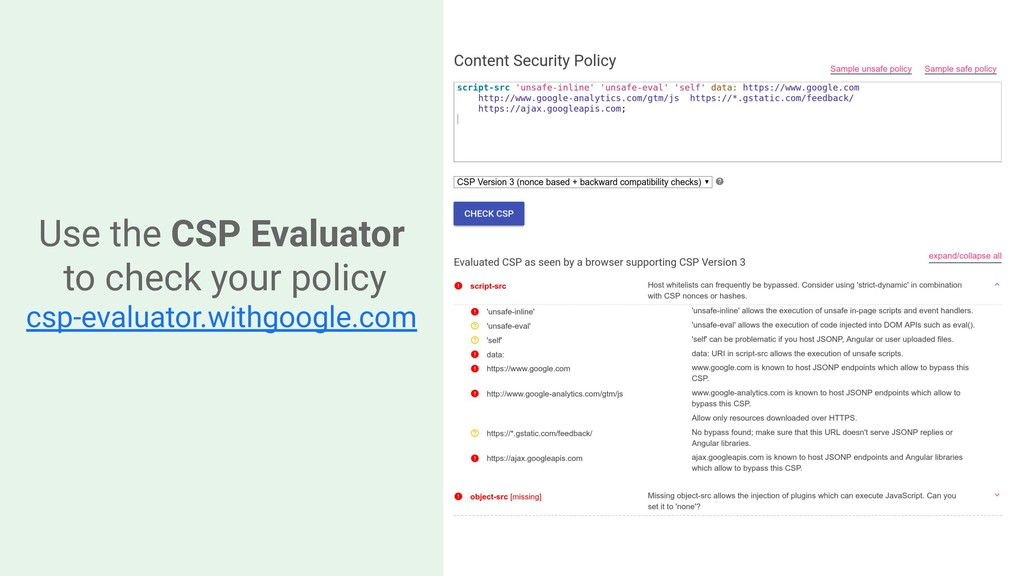 Use the CSP Evaluator to check your policy csp-...