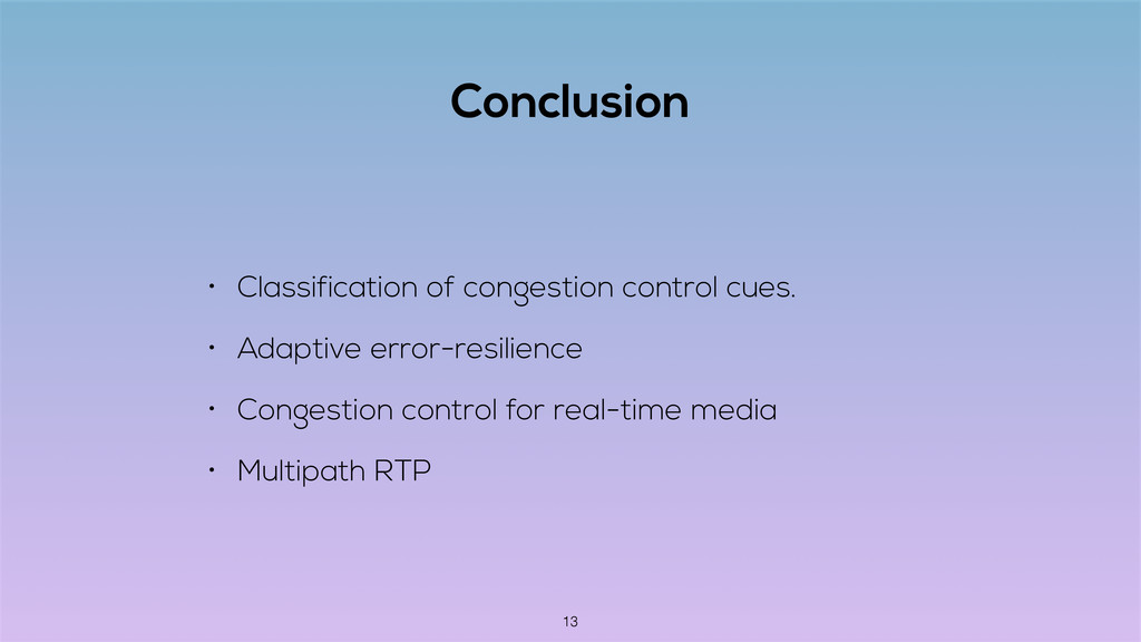 Conclusion • Classification of congestion contr...