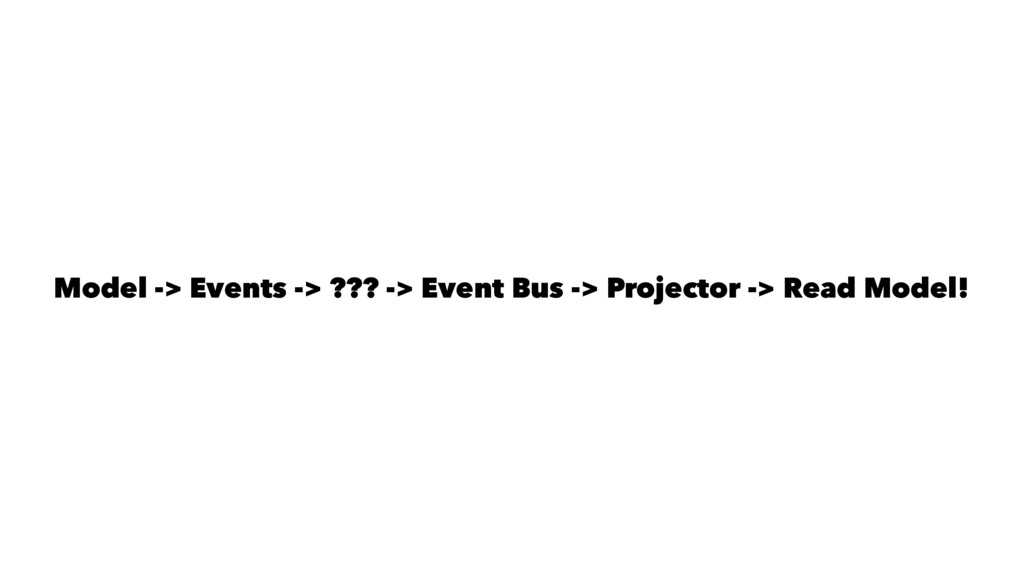 Model -> Events -> ??? -> Event Bus -> Projecto...