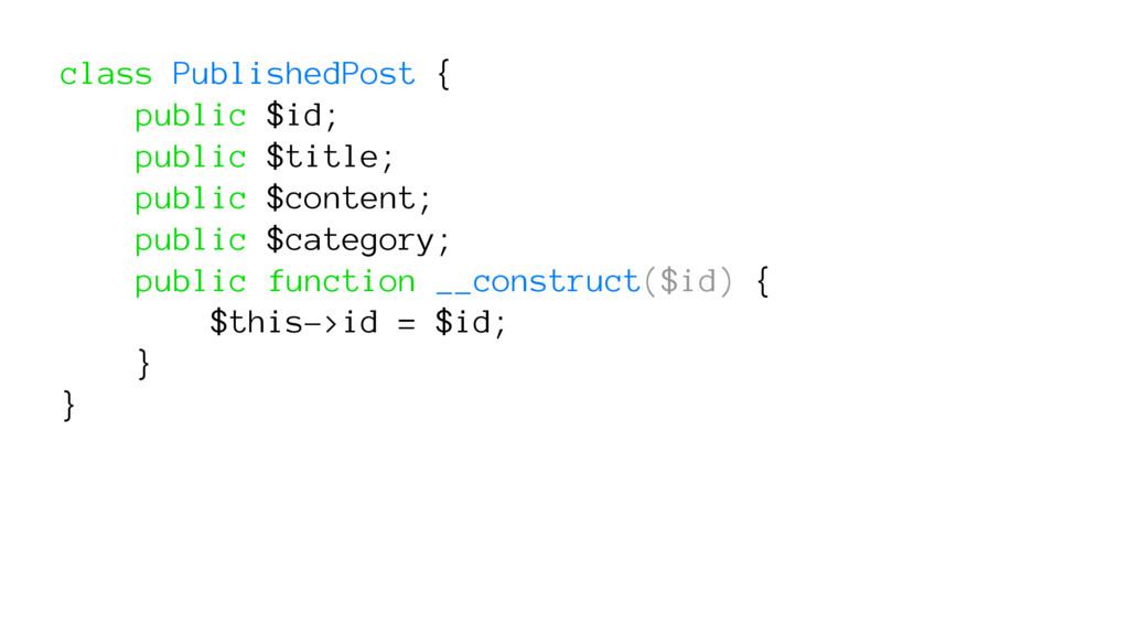 class PublishedPost { public $id; public $title...