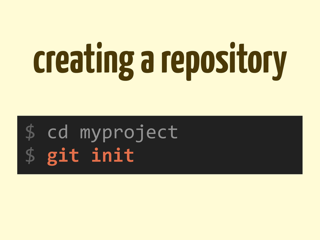 creating a repository $	