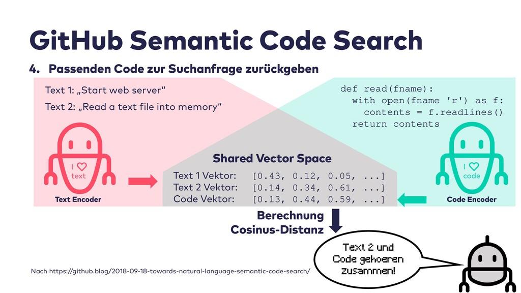 GitHub Semantic Code Search 4. Passenden Code z...