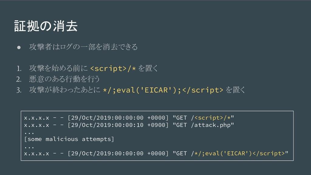 証拠の消去 ● 攻撃者はログの一部を消去できる 1. 攻撃を始める前に <script>/* ...