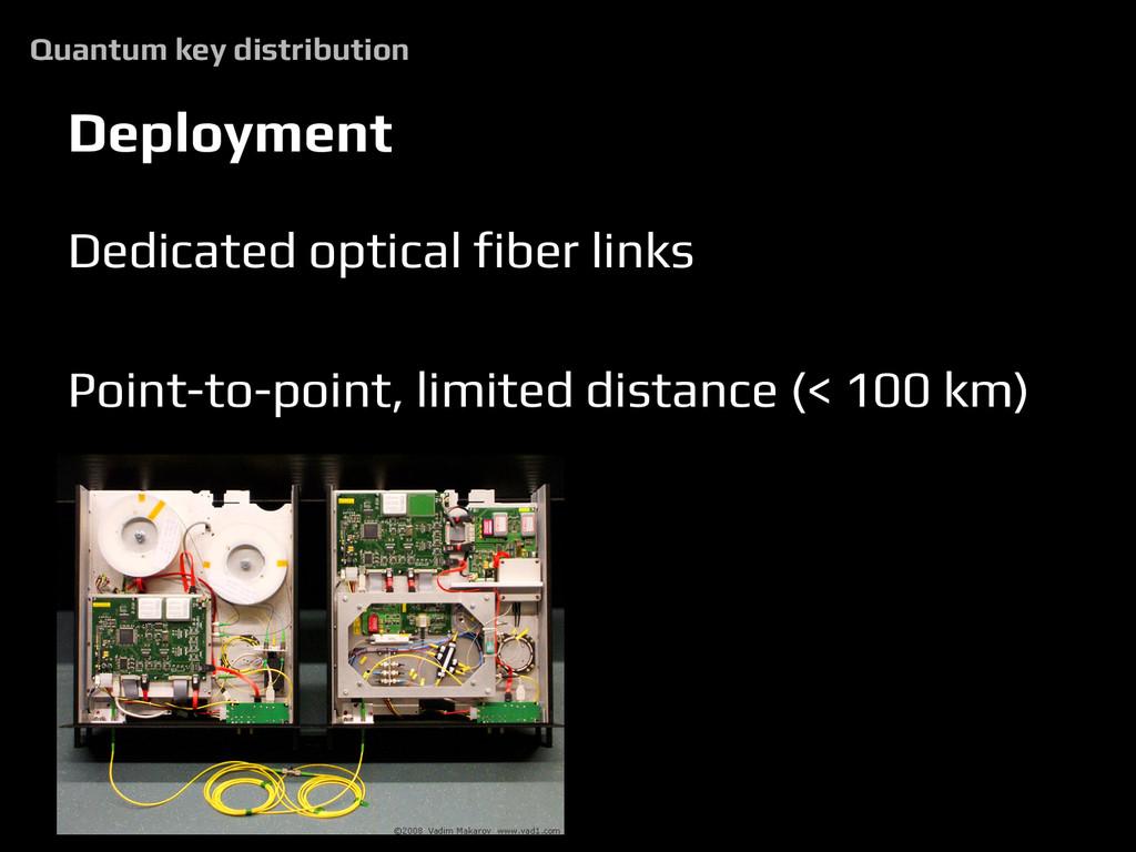 Deployment Dedicated optical fiber links Point-...