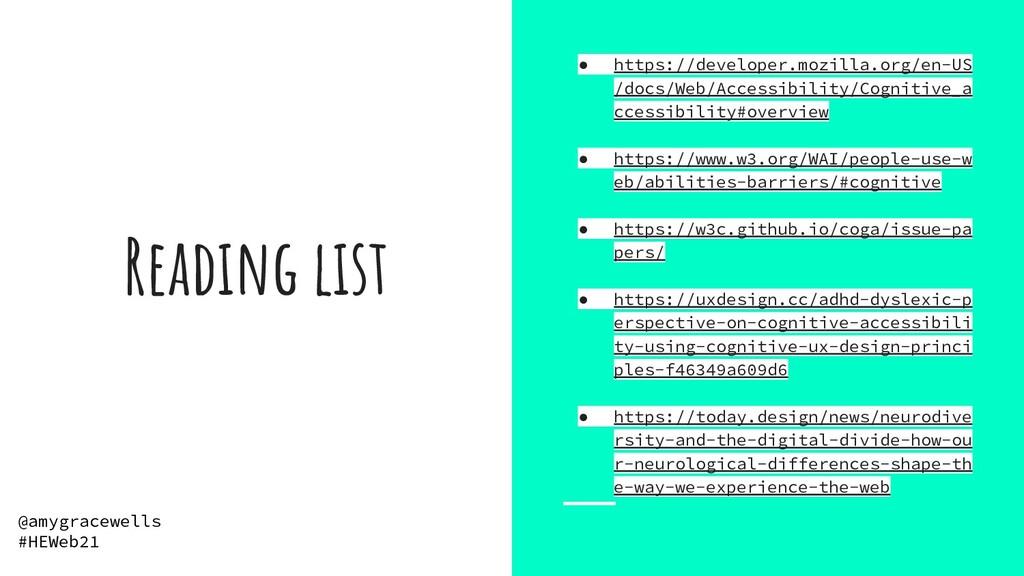 Reading list ● https://developer.mozilla.org/en...