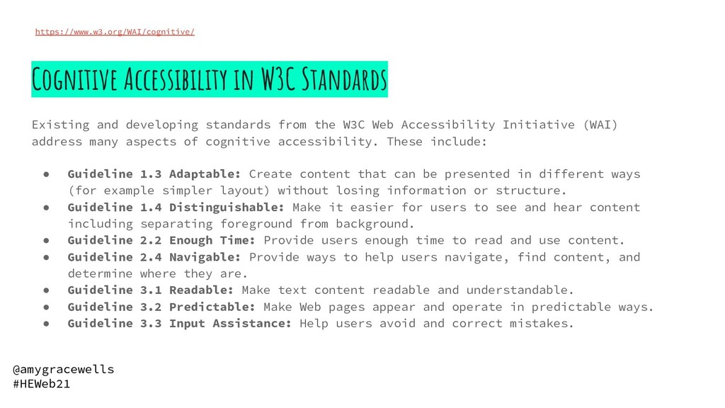 Cognitive Accessibility in W3C Standards Existi...