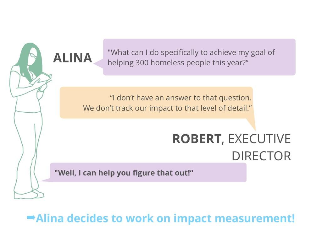 """ALINA ROBERT, EXECUTIVE DIRECTOR """"What can I do..."""