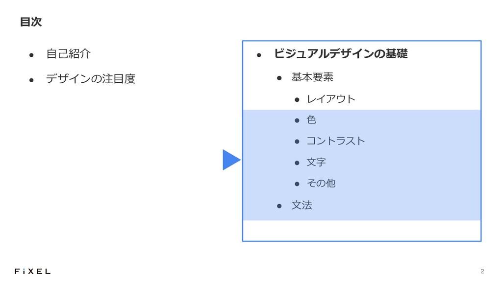 2 l ⾃⼰紹介 l デザインの注⽬度 ⽬次 l ビジュアルデザインの基礎 l 基本要素 l ...