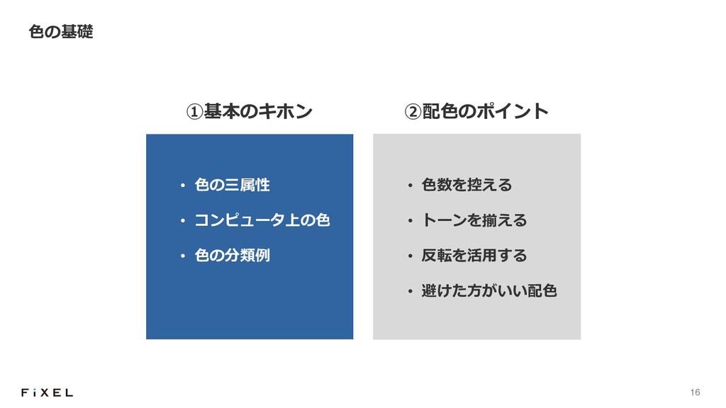16 ⾊の基礎 • ⾊の三属性 • コンピュータ上の⾊ • ⾊の分類例 ①基本のキホン • ⾊...