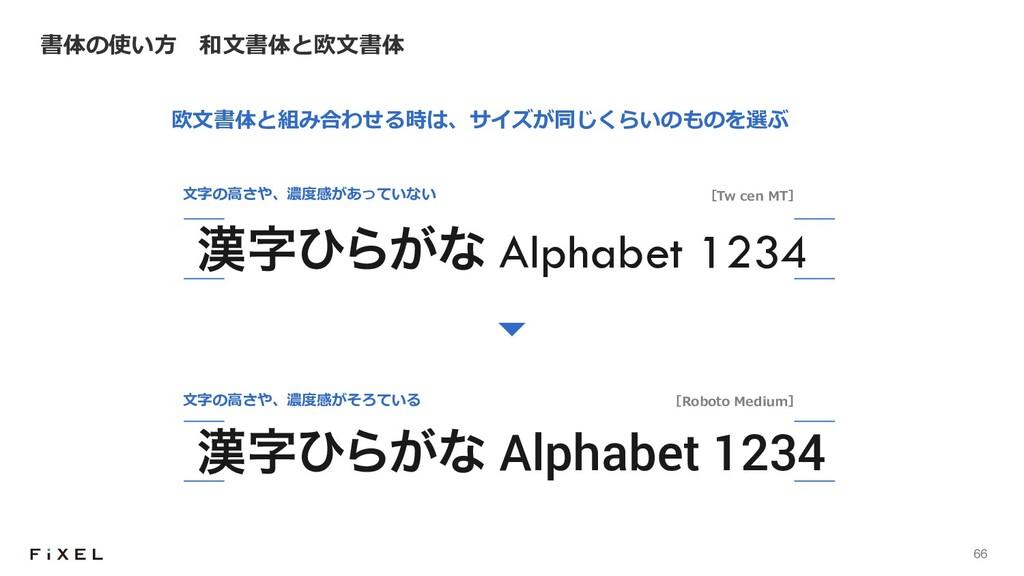 66 書体の使い⽅ 和⽂書体と欧⽂書体 ͻΒ͕ͳ Alphabet 1234 ͻΒ͕ͳ...