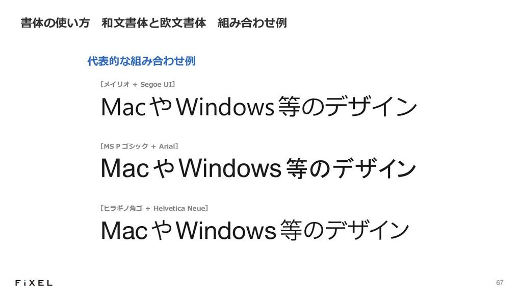 67 書体の使い⽅ 和⽂書体と欧⽂書体 組み合わせ例 ৻ऩੌा়ॎच MacWindo...