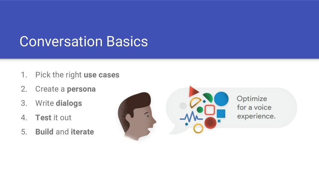 Conversation Basics 1. Pick the right use cases...