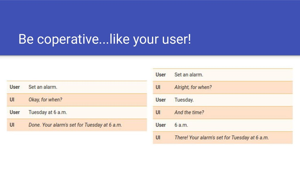 Be coperative...like your user!