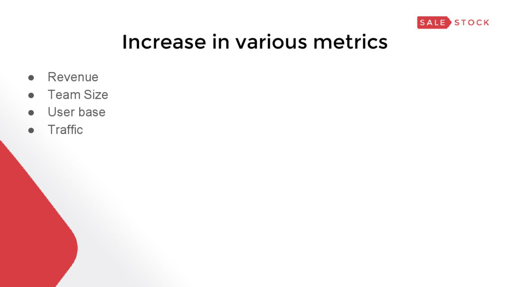 Increase in various metrics ● Revenue ● Team Si...