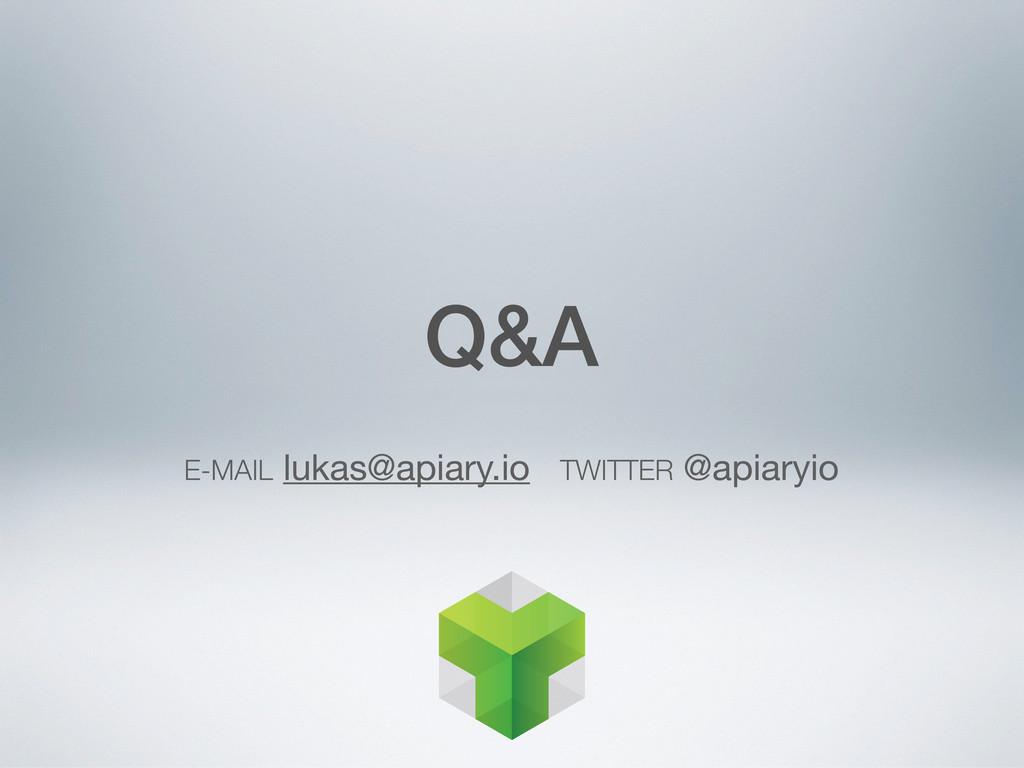 E-MAIL lukas@apiary.io TWITTER @apiaryio Q&A