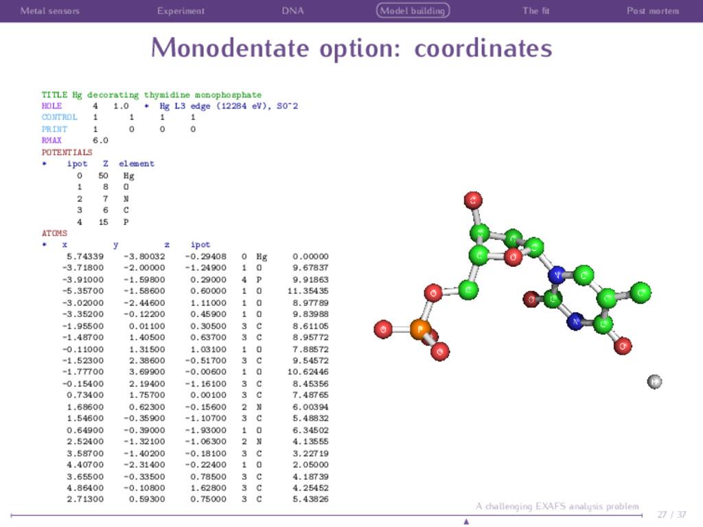 Metal sensors Experiment DNA Model building The...