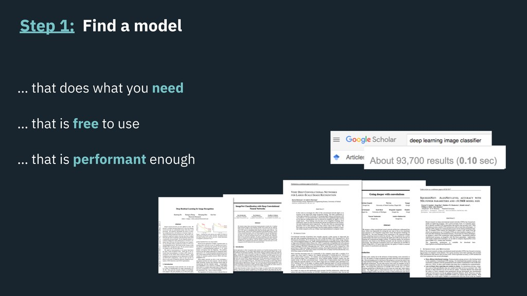 Step 1: Find a model … that does what you need ...