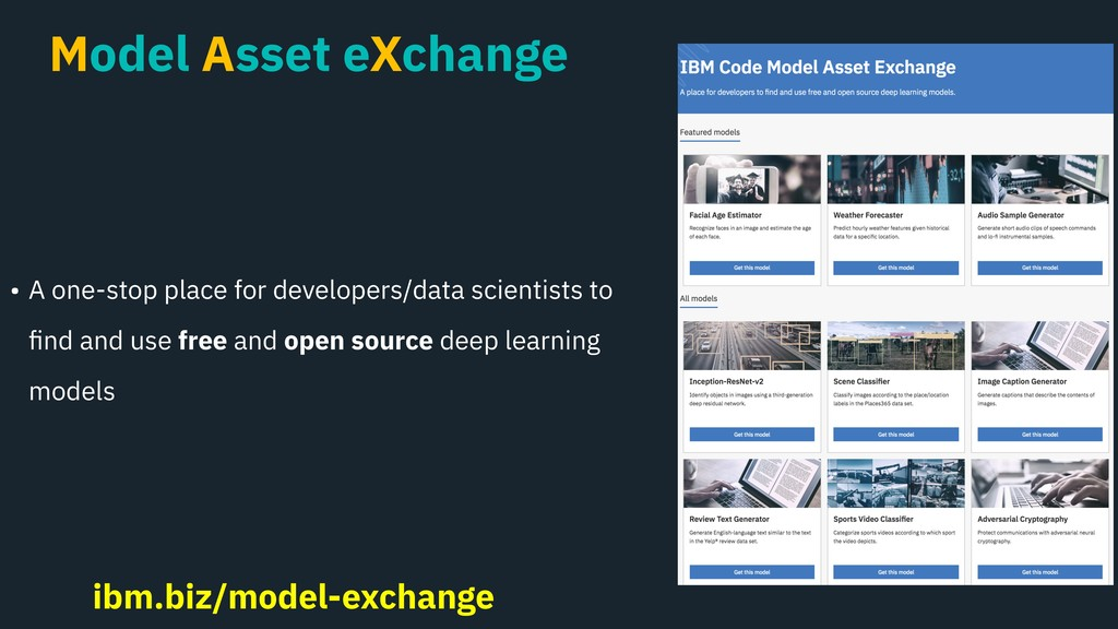 Model Asset eXchange • A one-stop place for dev...