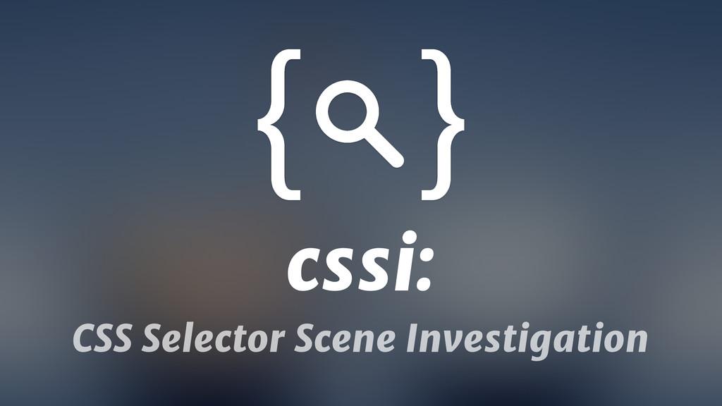cssi: CSS Selector Scene Investigation