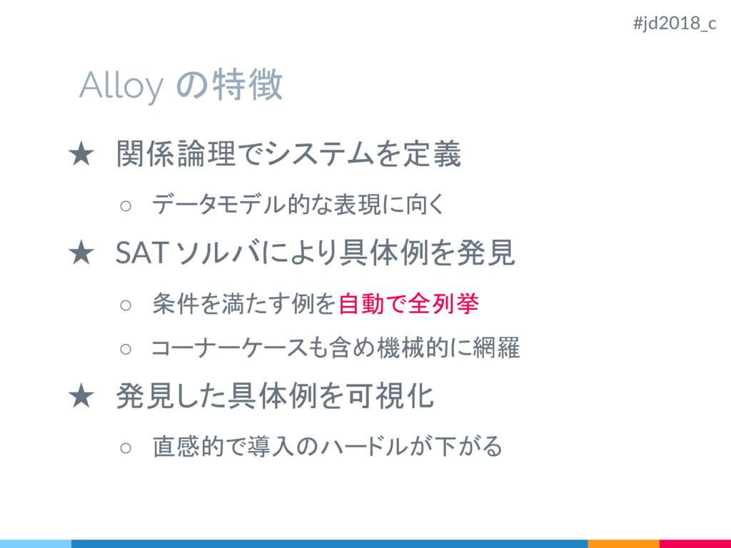 Alloy の特徴 ★ 関係論理でシステムを定義 ○ データモデル的な表現に向く ★ SAT ...