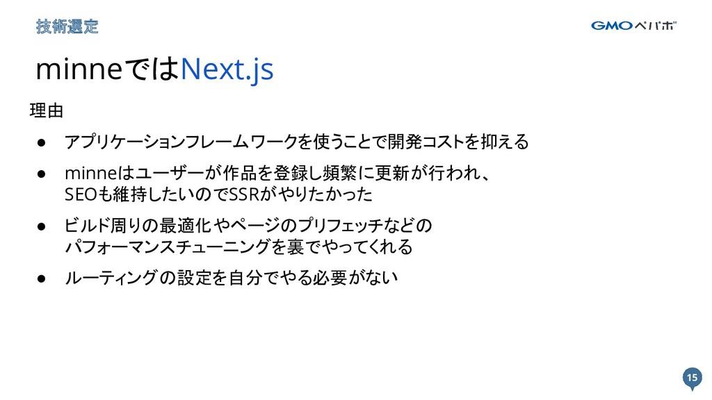 15 15 技術選定 minneではNext.js 理由 ● アプリケーションフレームワークを...