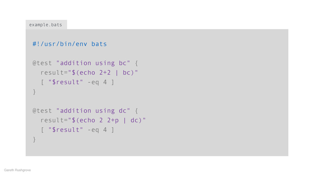 "#!/usr/bin/env bats ! @test ""addition using bc""..."