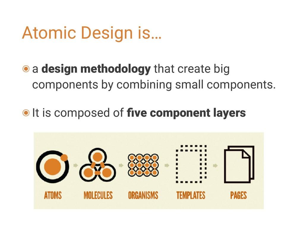 Atomic Design is… ๏a design methodology that cr...