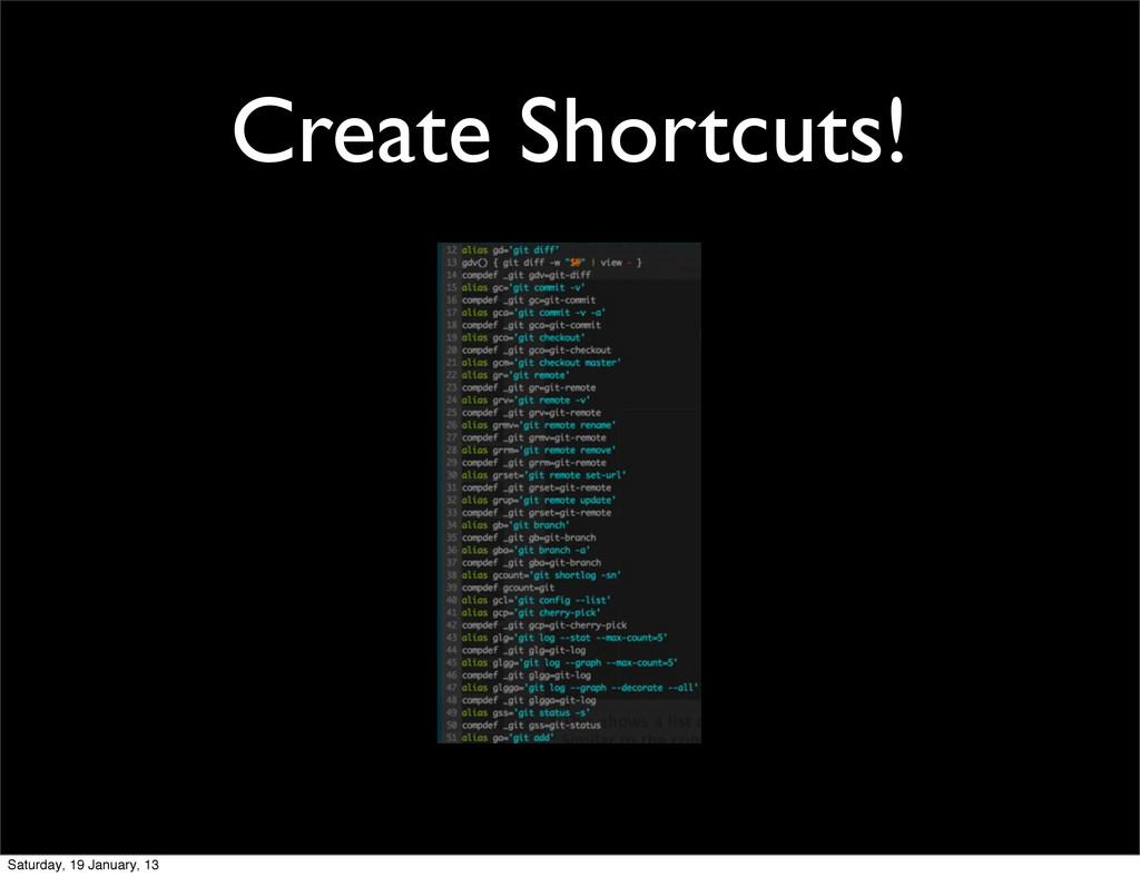 Create Shortcuts! Saturday, 19 January, 13
