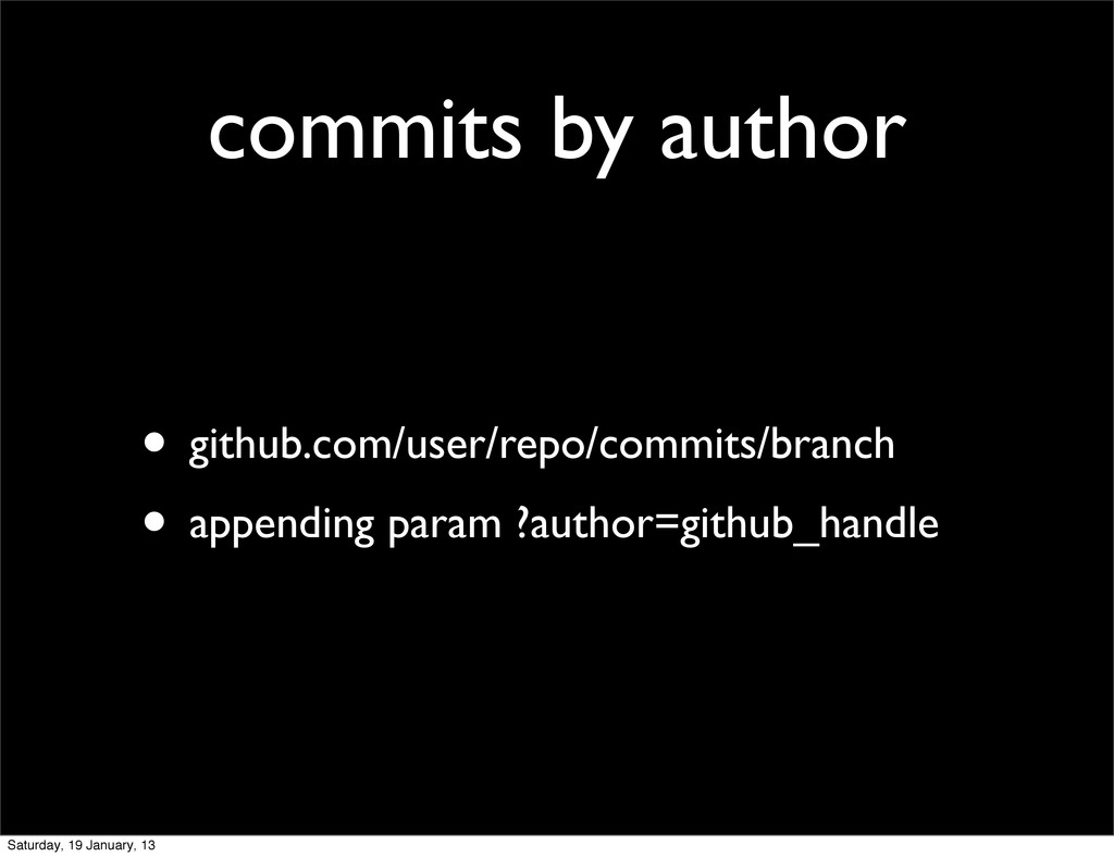 commits by author • github.com/user/repo/commit...