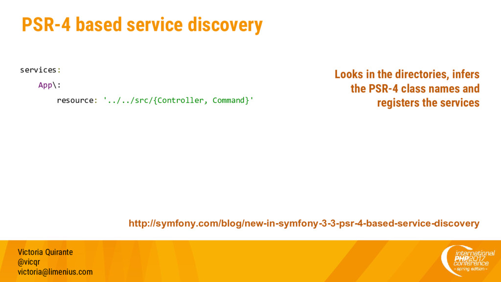 PSR-4 based service discovery services: App\: r...