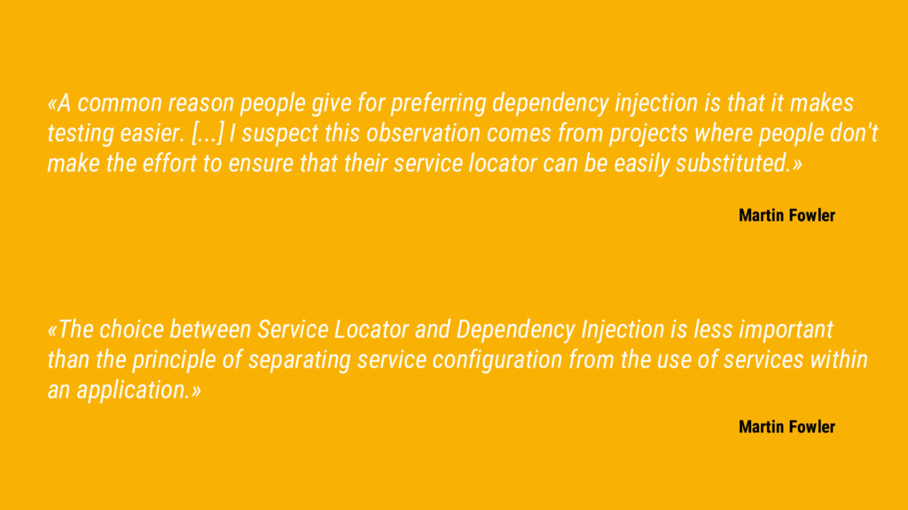 «The choice between Service Locator and Depende...