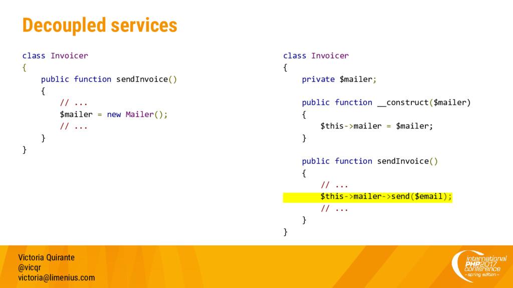 Decoupled services class Invoicer { public func...