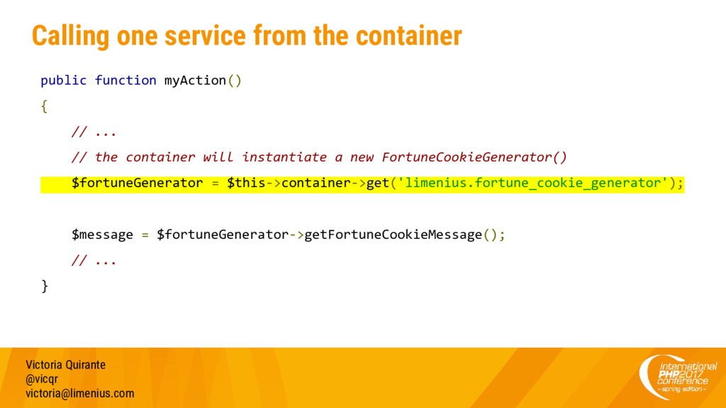 Calling one service from the container public f...