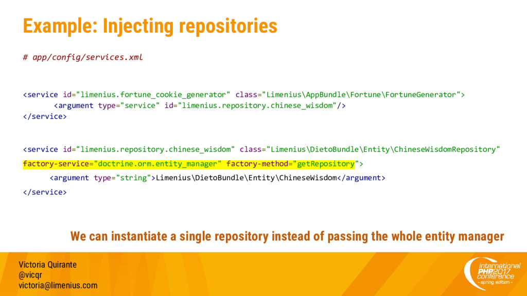 Example: Injecting repositories # app/config/se...