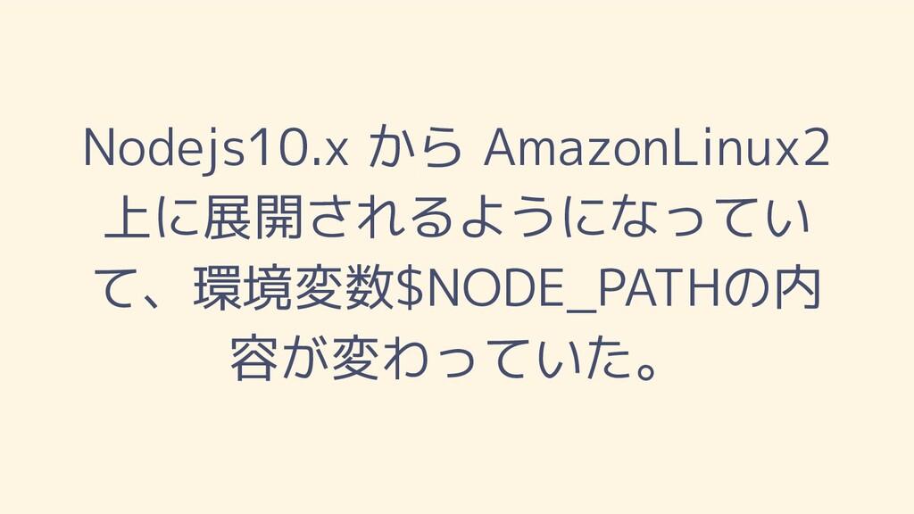 Nodejs10.x から AmazonLinux2 上に展開されるようになってい て、環境変...