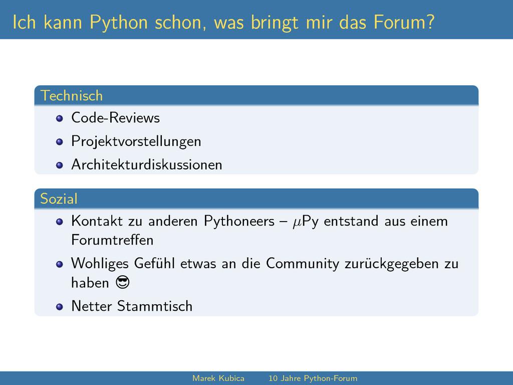 Ich kann Python schon, was bringt mir das Forum...